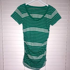 Caslon Ruched Sides Striped Tee
